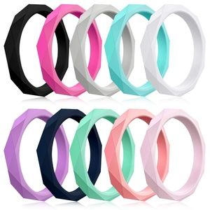 NWT 10Pcs Thin and Stackable Silicone Rings Bands